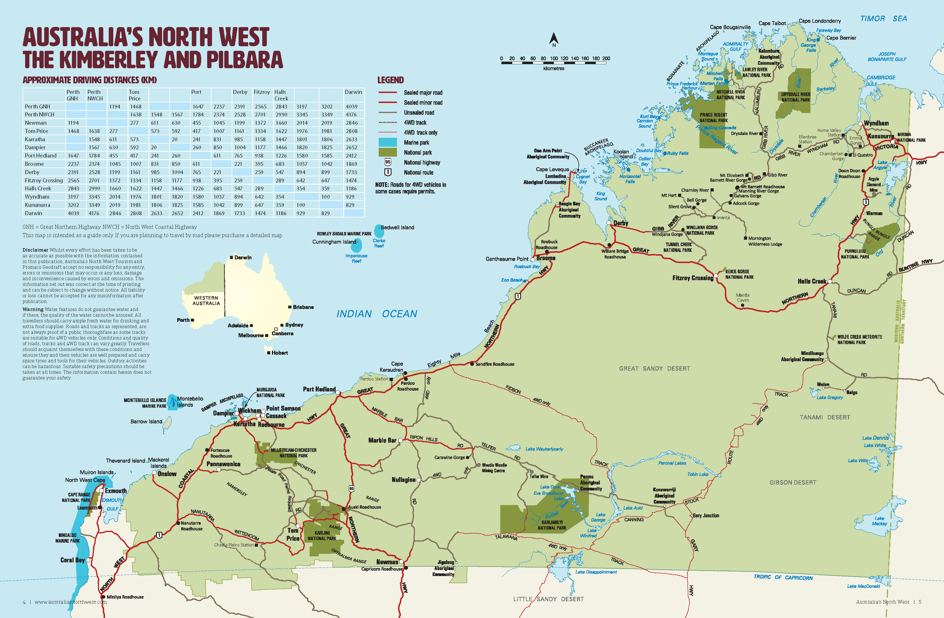 Western Australia 4wd Map.Outback Road Trips Australia S North West