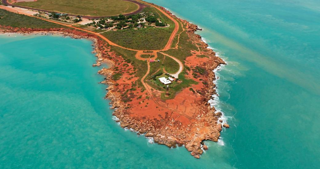 An aerial view of Gantheaume Point, Broome in Western Australia