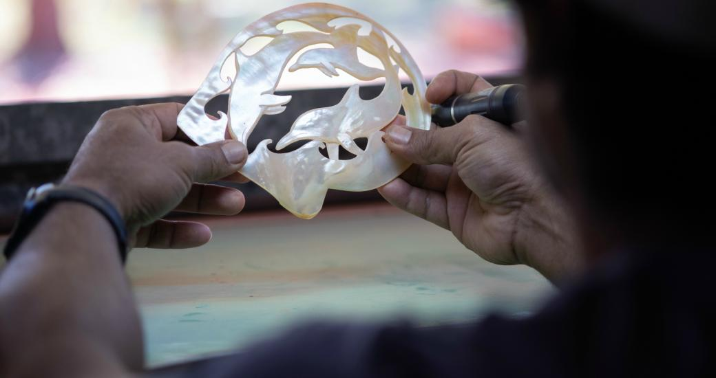 Carved Pearl Shell at Lombadina Community (Tourism WA)