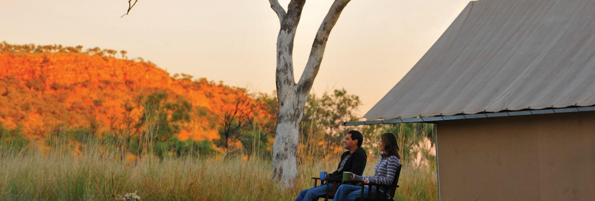 Tented cabin at APT Bell Gorge Wilderness Lodge on the GIbb River Road in the Kimberley region of Western Australia