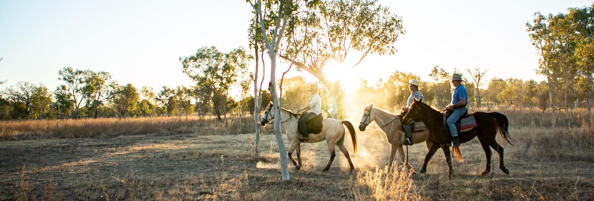 Horse Riding on a Gibb River Road Station Stay in the Kimberley region of Western Australia. Image: ANW