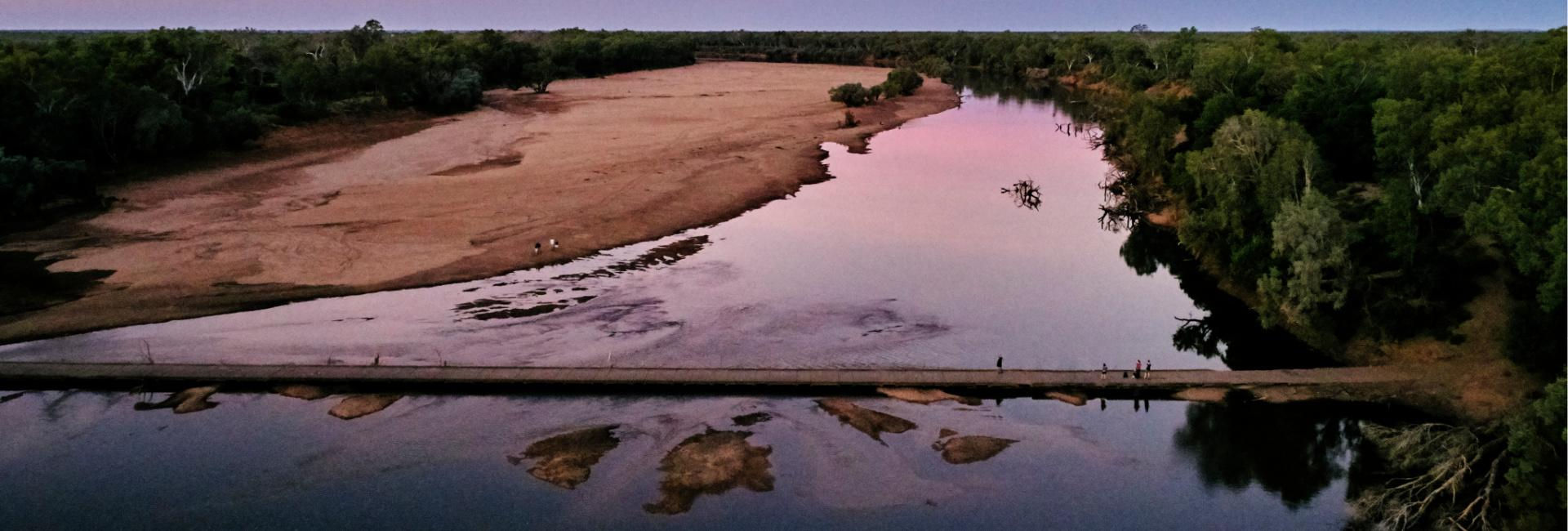 Old River Crossing at Fitzroy Crossing, in the Kimberley region of Western Australia. Image: Tourism WA
