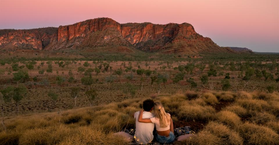 Sunset near Kungkalanayi Lookout in Purnululu National Park. Image: CJ Maddock
