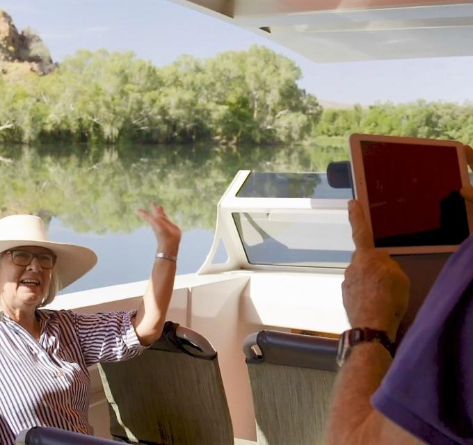 Taking a photo on the Ord River - Magic Kimberley