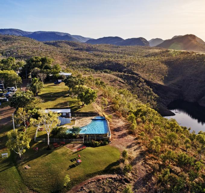 Aerial view of Lake Argyle Resort's swimming pool and accommodation. Image: Tourism Australia