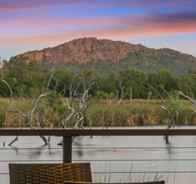 View of the Sleeping Budda from Kimberleyland Waterfront Holiday Park, Kununurra