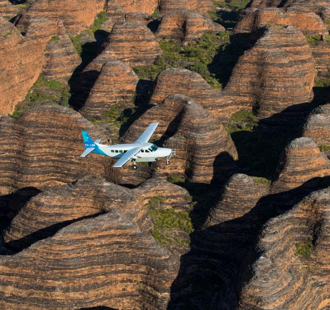 Aviair flying over the Bungles. Image: Kimberley Experiences