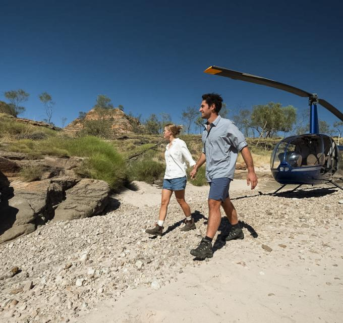 HeliSpirit landing at Purnululu National Park. Image: Kimberley Experiences