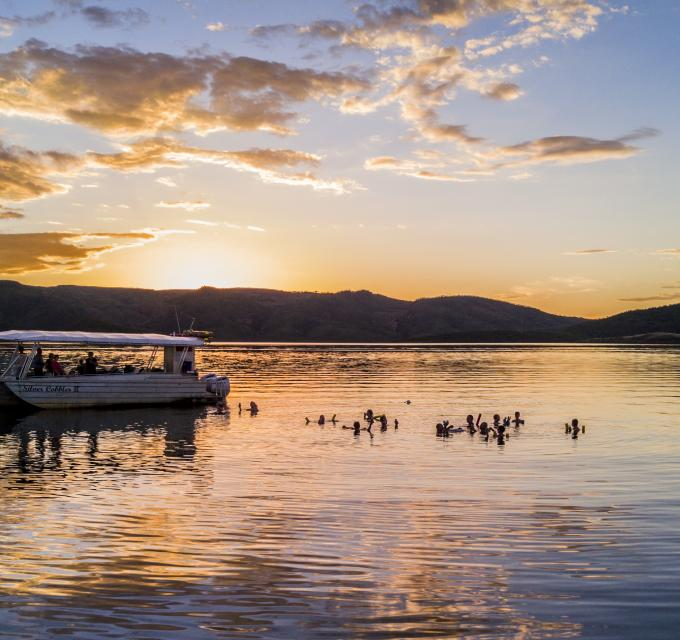 Sunset cruise on Lake Argyle. Image: Lake Argyle Cruises